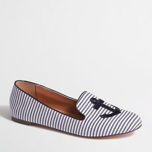 J Crew Striped Anchor Smoking Loafers